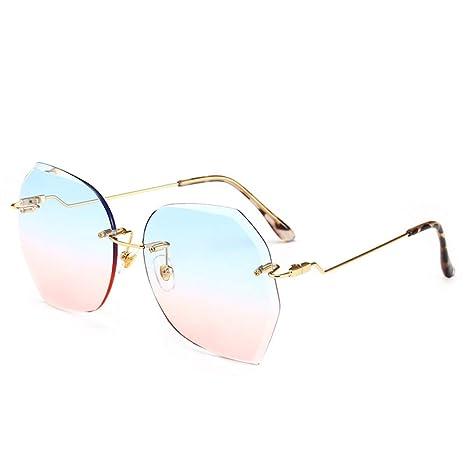 Yangjing-hl Gafas de Sol sin Bordes Moda Irregular ...