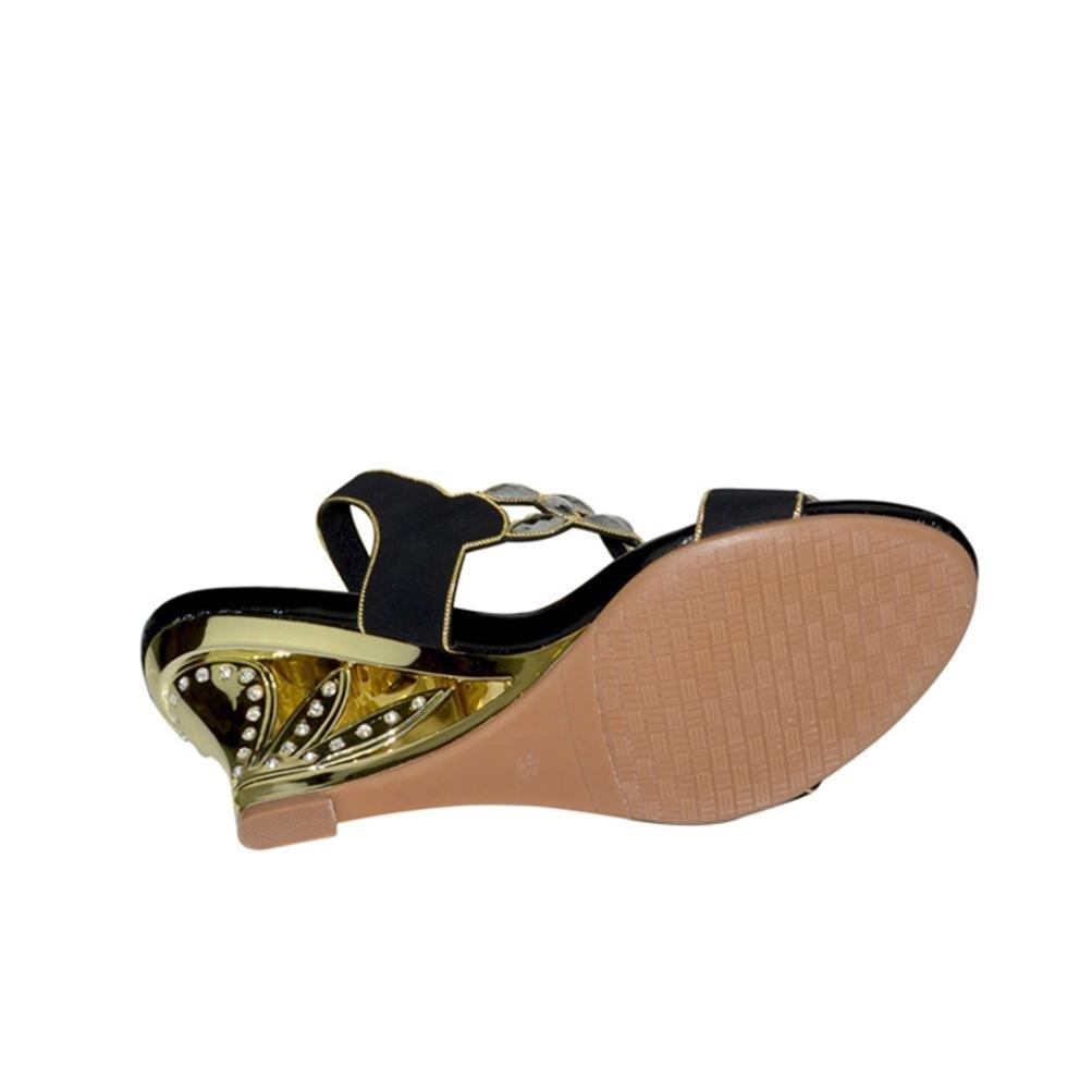 QPYC Frauen Open Toe High Heels Sandalen Strass Pailletten Openwork Openwork Pailletten Hohl Ferse Rough Heel Perlen Schnalle High Heels Large Größe Schuhe , purple , 39 - 8a0316