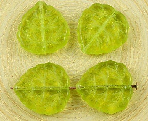 8pcs Crystal Olive Olivine Green Czech Glass Large Flat Leaf Carved Beads (Green Leaf Glass Bead)