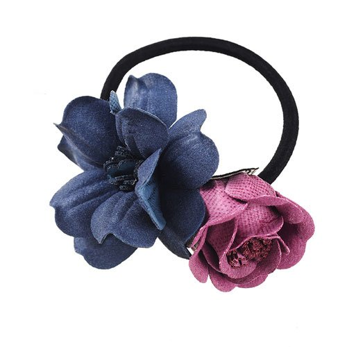 Girls Fashion Floral Bow Elastic Hair Band Scrunchy Ponytail Flower Gum For Hair Accessoories for -