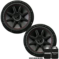 Kicker CVR12 CompVR 12-Inch (300mm) Subwoofer, 2-Ohm DVC Bundle
