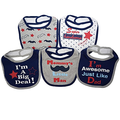 Mommy's Little Man | 5 Pack Funny Baby Bibs | Funny Baby Boy Feeder Bibs | Just Like My Dad