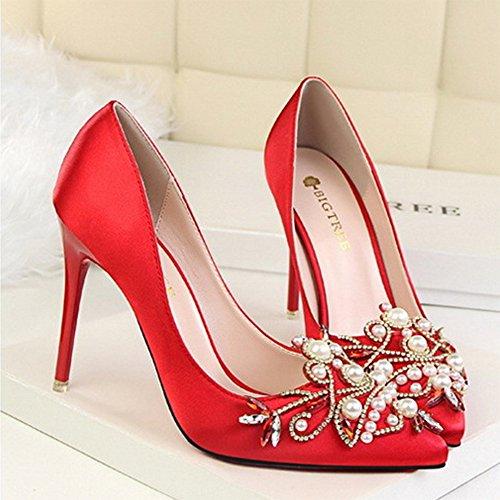 Toe Satin 10cm Chaussures Haut Soirée Banquet Court Talon Femmes Red Pointu Lady Strass Stiletto 05FqgF