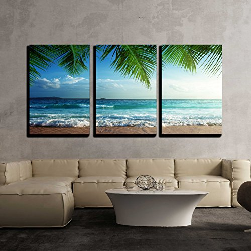 Sunset on Seychelles Beach Wall Decor x3 Panels