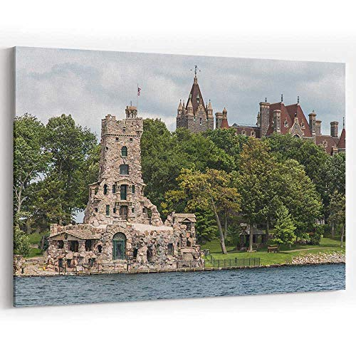 Alster Tower and Boldt Castle on Heart Island Canvas Art Wall Dector for Modern Home Decor