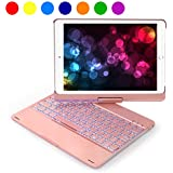 Keyboard Case for 2018 New iPad 9.7 inch 6th Generation/2017 5th Gen/Air 2 1/Pro 9.7, Wireless/BT, 360 Rotatable, 180 Flip, 7 Color Backlit, Smart Sleep-Wake, Slim Cover for Apple 9.7'' Tab -Rose Gold