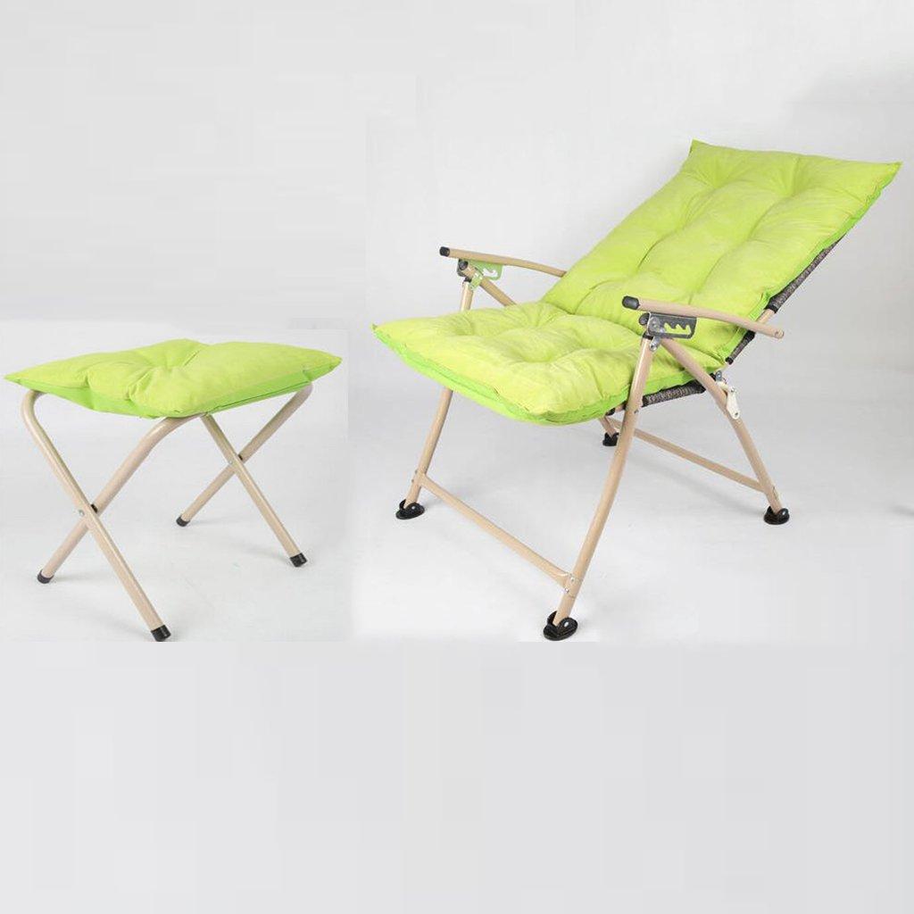 重い人のための足の残りの調節可能なキャンプチェア、ホームパティオアウトドアのための茶色の折り畳み式のラウンジスツールシート (色 : 緑) B07DHLZJZW 緑 緑