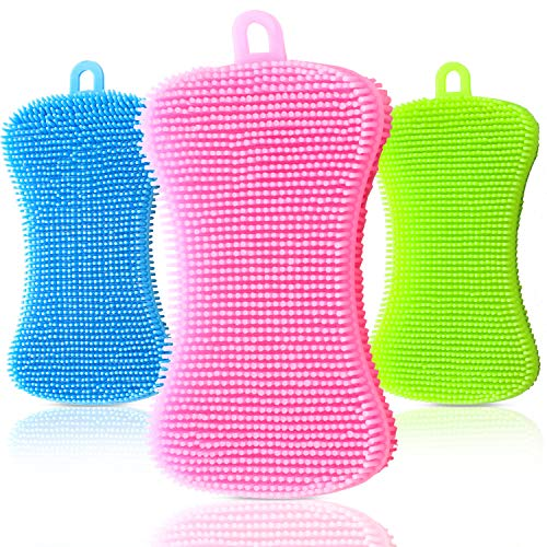 3 Pieces Silicone Sponge Dish Washing Scrubber Household Cleaning Sponge Kitchen Gadgets Brush Accessories for Dishes (Green, Blue, Pink)