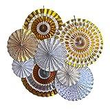 LOLOAJOY 8PCS/Set Home Decoration Hanging Paper Fans Decorative Fans Gold & Silver