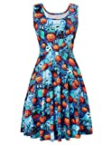 Uideazone Women Vintage Classy Floral Scoop Neck Sleeveless Dresses for Picnic Party Halloween
