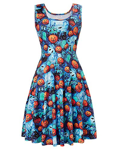 Uideazone Women Scoop Neck Sleeveless Pumpkin Dresses for Picnic Party Halloween