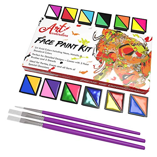 Face Paint Kit - Set of 24 Professional Face & Body Makeup Colors for Kids | Includes Classic, Metallic & UV Colors, 3 Paint Brushes & 30 Stencils | Non Toxic Painting Kits, Perfect for Halloween!