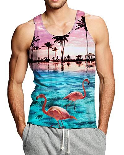 Adicreat Mens Print Flamingos Soft Breathable Vest Sleeveless Round Neck Hawaii Tank Tops