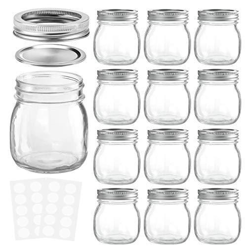 (KAMOTA Mason Jars 10OZ With Regular Lids and Bands, Ideal for Jam, Honey, Wedding Favors, Shower Favors, Baby Foods, DIY Magnetic Spice Jars, 12 PACK, 20 Whiteboard Labels)
