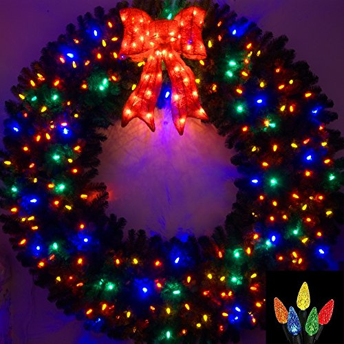 6 Foot Multi-Color L.E.D. Christmas Wreath by Artificial Christmas Wreaths