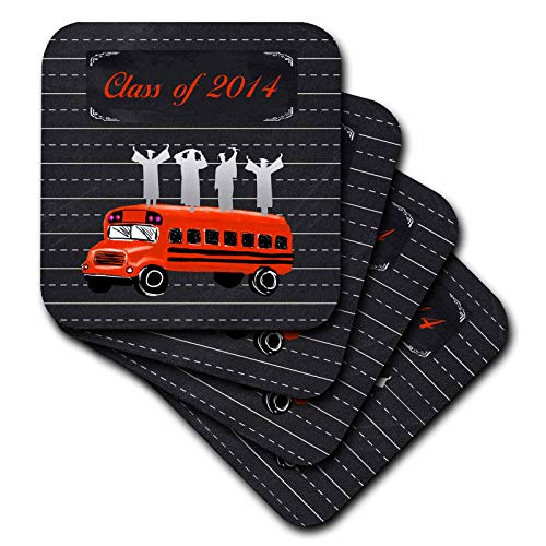 3dRose Beverly Turner Graduation Design - Graduates on School Bus with Notebook Page Background, Red and Black - set of 4 Coasters - Soft - Turner Notebook