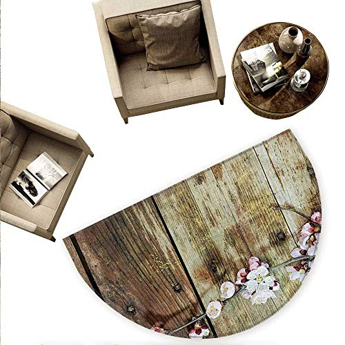 (Rustic Semicircular Cushion Stained Walnut Branch with Soft Twiggy Swirling Flowers Leaves Cottage Life Concept Entry Door Mat H 66.9