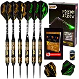 IgnatGames Steel Tip Darts - Professional Darts Set with Aluminum Shafts and Flights + Dart Sharpener + Innovative Case (24g Poison Arrow)