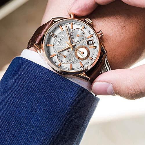 BUREI Men's Chronograph Wrist Watches with Rose Gold Date Analog and Brown Leather Strap