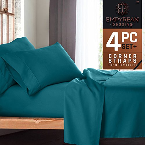 Premium 4-Piece Bed Sheet & Pillow Case Set – Luxurious & Soft Twin XL (Single) Size Linen, Extra Deep Pocket Super Fit Fitted Teal Blue Sheets