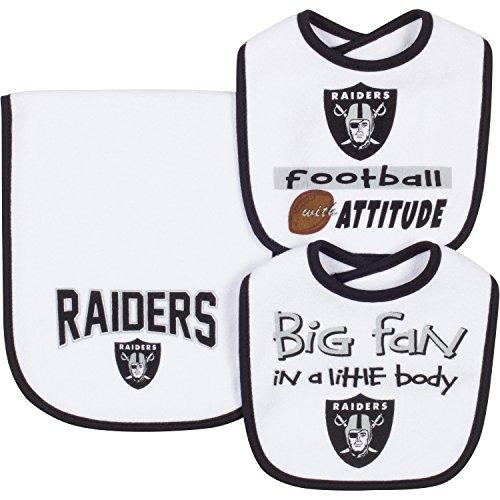 NFL Oakland Raiders Unisex-Baby 3-Piece Bib & Burp Cloth Set, White, One Size