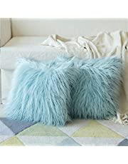 MIULEE Set van 2 zachte effen decoratieve vierkante bont-kussenslopen, set van 2 kussenslopen, voor bank en slaapkamer