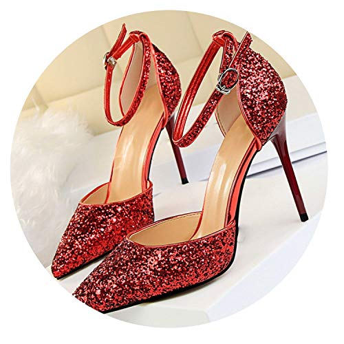 (2019 Mary Jane Shoes Glitter Heels Shoes Women Pumps Stiletto Wedding Shoes Bride red Heels Tacones,6,61)