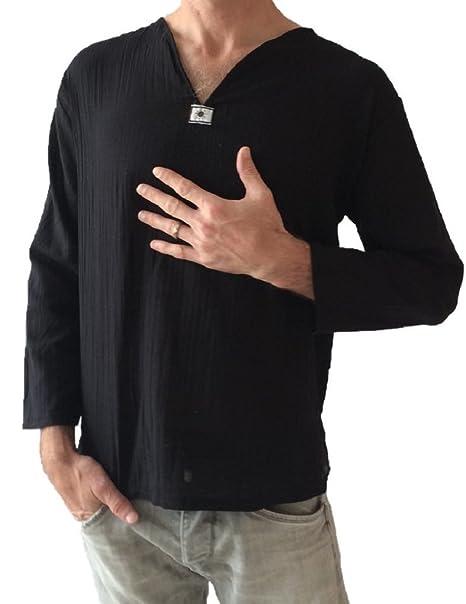 Camisa negra para hombre 100 % de algodón, estilo tailandés, hippie, camisa de yoga