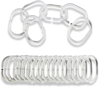 Hotop Plastic Shower Curtain Rings Hooks for Bathroom Shower Window Rod 48 Packs, White