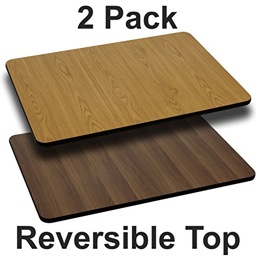 (Flash Furniture 2 Pk. 30'' x 48'' Rectangular Table Top with Natural or Walnut Reversible Laminate Top)