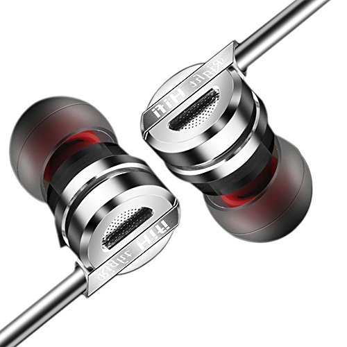 in-Ear Earphones Wired Noise isolating Stereo Headphones Hi-Fi Headsets Super Bass Earbuds with Mic for iPhone iPod iPad MP3 Players Samsung Galaxy Nokia Motorola etc Grey