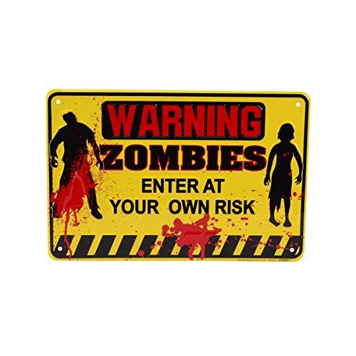 Yellow Tin Metal Warning Zombies Halloween Horror Door Sign