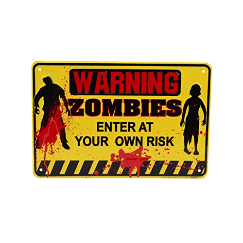 (TreasureGurus, LLC Yellow Tin Metal Warning Zombies Halloween Horror Door)