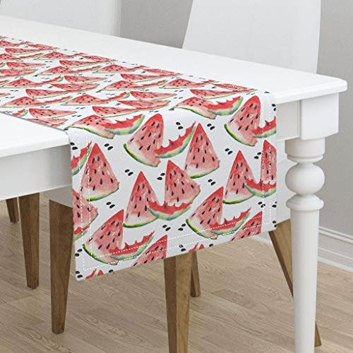Pencil Harvest (Table Runner - Watermelon Watercolor Harvest Summer Happy Red Green by Magic Pencil - Cotton Sateen Table Runner 16 x 108)