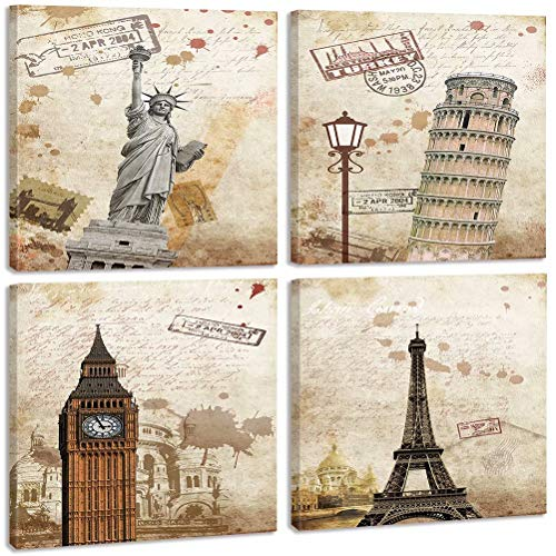 Liberty Tower - TONZOM Canvas Wall Art Print on Canvas Stretched And Framed to Hand-Statue of Liberty, Leaning Tower of Pisa, Big Ben, Eiffel Tower(12x12inchx4pcs)
