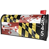 NEONBLOND Maryland 3D Flag Region: America (USA) Magnetic Mailbox Cover Custom Numbers