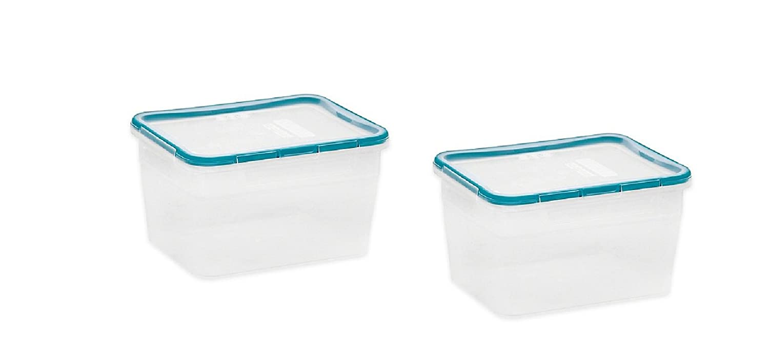 2 Pack 16-Cup Food Storage Container with Lid in Teal - Airtight, Leak-Proof Lid With 4 Locking Tabs, BPA-free Polypropylene
