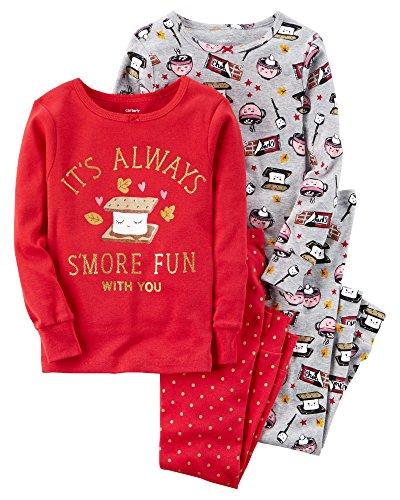 (Carter's Baby Girls' 12M-24M 4 Piece Smore Snug Fit Cotton Pajamas 12 Months)