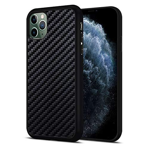 JuBeCo iPhone 11 Pro Max Case, Natural Slim Eleghant Aramid Carbon Fiber with Flexible TPU Bumper for iPhone 11 Pro Max6.5-inch (Carbon Fiber)