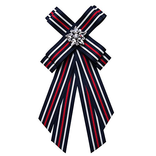 Brooch Pin Necktie Preppy Style with Stripe Ribbon Bowknot Pre-Tied Bowties Breastpin Jewelry for Women Wedding Party (Blue & White)
