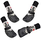 LLNstore Dog Booties Non-Slip Dog Socks Waterproof Shoes for Puppies Adjustable Magic Tape Knitted Dog Boots Outdoor Indoor Paw Protection for Puppy Dogs & Cats 2Pairs