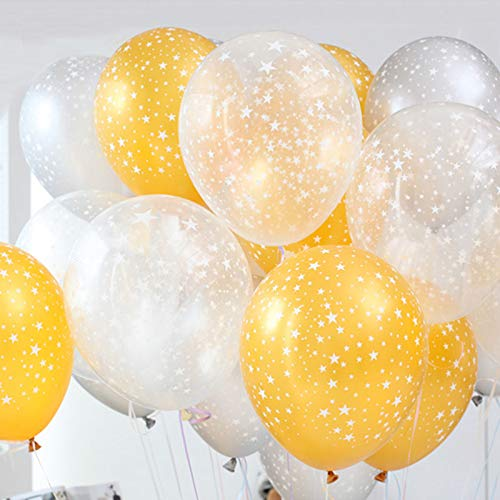Neo LOONS Stars Around Latex Balloons, 12 inch Assorted Color Metallic Premium Latex Balloons for Birthdays Weddings Receptions Baby Showers Decorations, 30 Pcs Clear & Gold & Silver