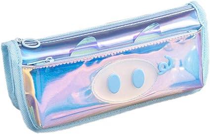 Ikavee Estuche holográfico para lápices, multifunción, diseño de cerdo, gran capacidad, organizador de escritorio, bolsa de cosméticos, color azul 20 * 9 * 6cm: Amazon.es: Oficina y papelería