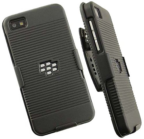 cheaper 9eec8 9dee0 BlackBerry Z10 CASE Belt Clip, NAKEDCELLPHONE'S Black Ribbed Hard CASE  Cover + Belt Clip Holster Stand for BlackBerry Z10 Phone (aka London, ...