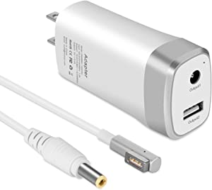45W Mini Charger for MacBook Air 11 inch 13 inch Magnetic 1 L-tip MAC Power Charger Adapter - Lightweight & Portable - One Extra USB Port Design