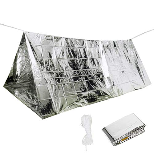 Tebery 4 Pack Emergency Reusable 2-Adults Mylar Thermal Tent Survival Shelter Tent - 94