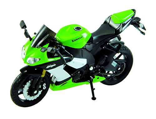Welly Die Cast Motorcycle Green Kawasaki 2002 Ninja ZX-10R, 1:18 Scale