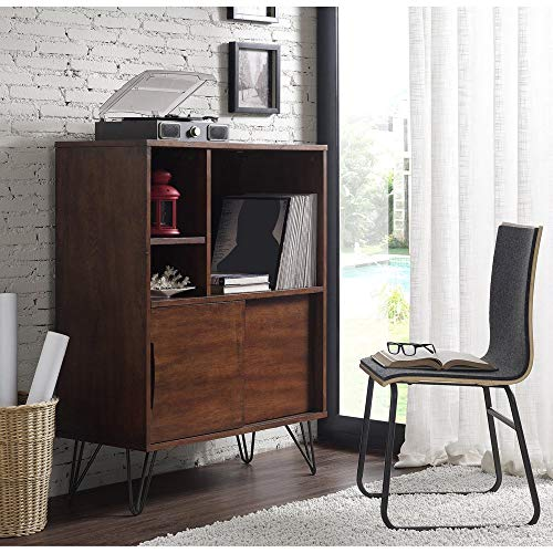 Retro Clifford Media Bookshelf Console, The Versatile and Multi-Functional Design Can be Utilized in Any Room with Its Handsome Walnut Finish and Ample Storage Capacity, Scratch and Mar Resistant
