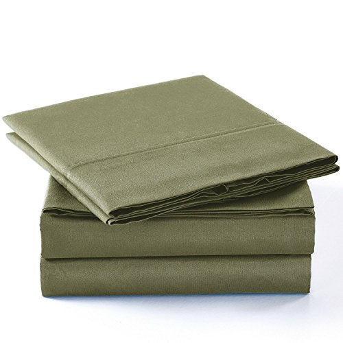 Unique Home Super Soft Microfiber 200 count Sage QUEEN Sheets & Pillow Set