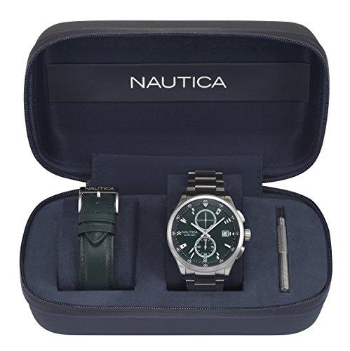 Nautica Men's 'LISBON' Quartz Stainless Steel Casual Watch, Color:Green (Model: NAPLSN001)